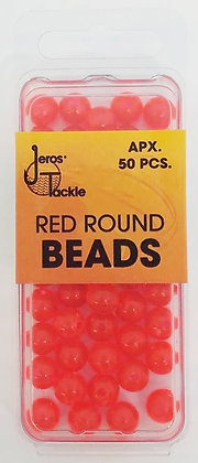 Jeros Tackle Size 8 Red Round Beads (Apx. 50 pcs)