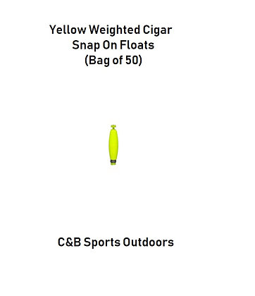 Yellow Weighted Cigar Snap On Floats (Choose Size)