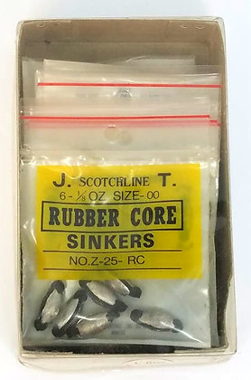 Box of Scotchline 1/8oz Rubber Core Sinkers - Size 00 (Z-25-RC)