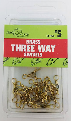 Jeros Tackle #5 Brass Three Way Swivels 12pcs per pack