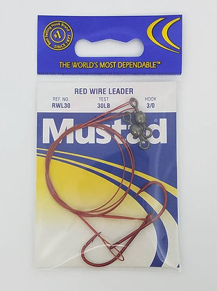 Mustad Red Wire Leader 2pk - 30lb test - 3/0 hooks (RWL30)