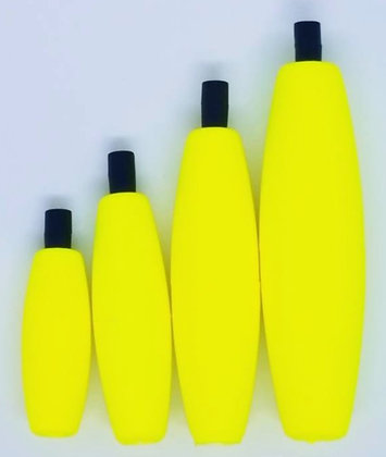 Cigar Peg Floats 5pcs Yellow (choose size)