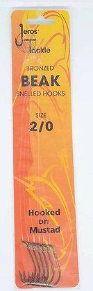 Jeros Tackle Bronzed Beak Snelled Hooks Size 2/0
