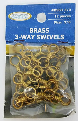 Tournament Choice Size 3/0 Brass 3-way Swivels 12pcs