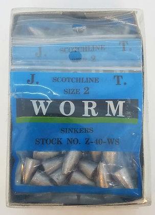 Box of Scotchline 3/16oz Size 2 Worm Sinkers (Z-40-WS)