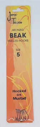 Jeros Tackle Bronzed Beak Snelled Hooks Size 5