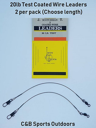 20Lb Test Coated Wire Leaders  2 per pack (Choose Length)