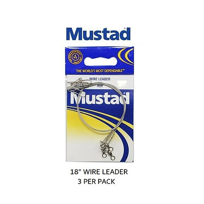 "18"" Mustad Wire Leader 3pk (choose LB test)"