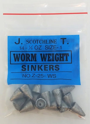 Scotchline 1/8oz Size 1 Worm Weight Sinkers (Z-25-WS)