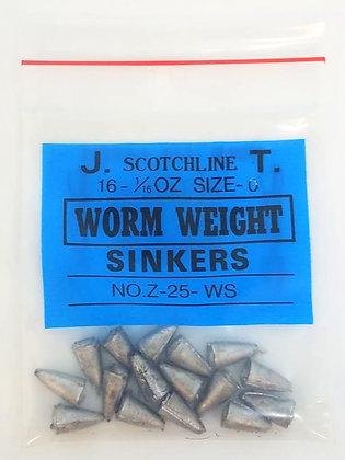 Scotchline 1/16oz Size 0 Worm Weight Sinkers (Z-25-WS)