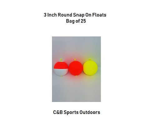 3 inch Round Snap On Floats (bag of 25) (choose color)