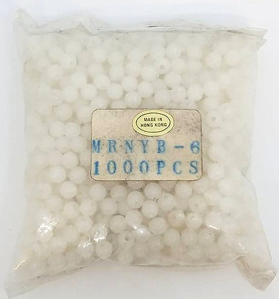 Bag of 1000 Round Beads Size 6 White