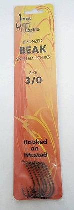 Jeros Tackle Bronzed Beak Snelled Hooks size 3/0