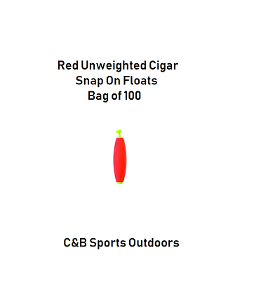 Red Unweighted Cigar Snap On Floats (bag of 100)