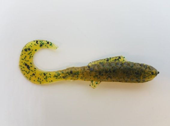 """AWD Baits - 2"""" Crappie Delights - CD45 Pumpkin Seed Green (Bag of 1,000)"""