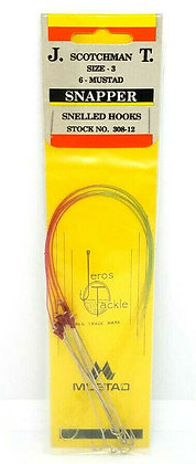Jeros Tackle Size 3 Snapper Snelled Hooks - 6 per pack