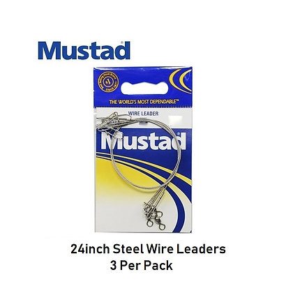 24 inch Mustad Steel Wire Leaders (box of 12)