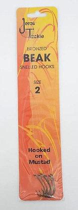 Jeros Tackle Bronzed Beak Snelled Hooks Size 2