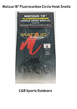 "Matzuo 18"" Fluorocarbon Circle Hook Snells Size 8 (box of 12)"