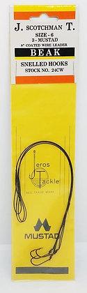 "Jeros Tackle Size 6 8"" Coated Wire Leader Beak Snelled Hooks 3pcs"