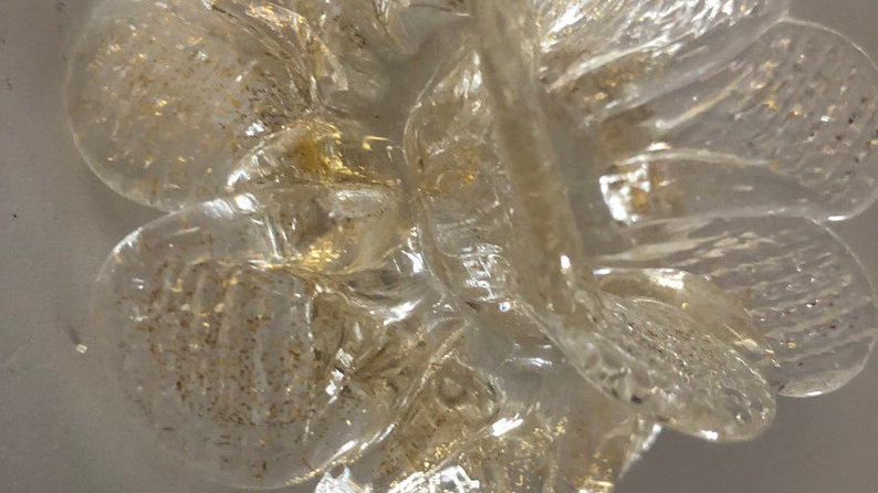 Replacement flower , in Murano blown glass, spare part for mirrors , gold color
