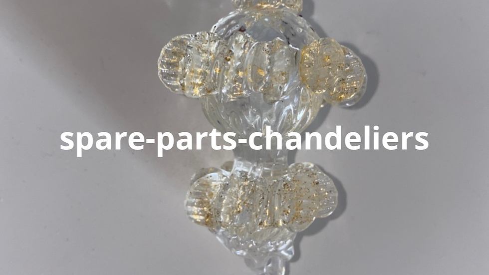 Final, spare part for chandelier, in gold and transparent color