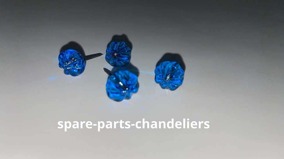 Head crystal glass nails, blue color