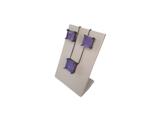 Conjunto brinco e colar pedra violeta quadrada folheado a ródio negro