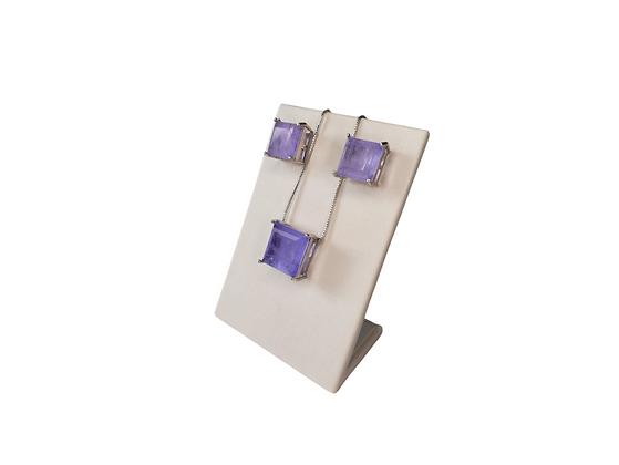 Conjunto brinco e colar pedra violeta quadrada folheado a ródio branco