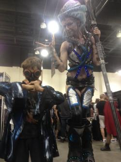 Gabriel with stilt woman