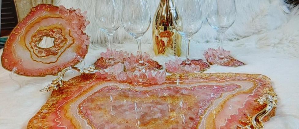 Pink Quartz Crystal Olga Sem Platter