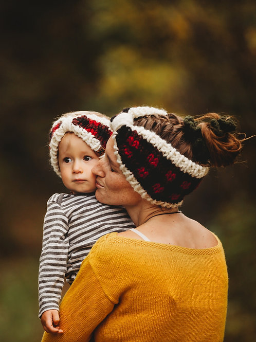 Plaid Bow Ear Warmer