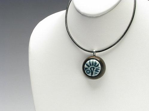 Blue-Green Texture Pendant Necklace; PESD2