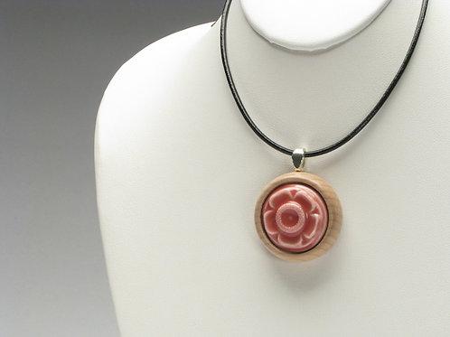 Pink Flower Pendant Necklace; PPLN3