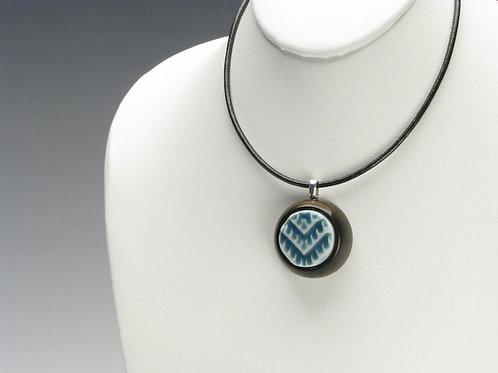 Blue-Green Chevron Pendant Necklace; PESD3