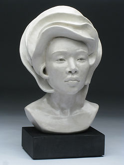 Ceramic Figure Sculpture, ceramic bust with white glaze