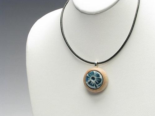 Blue-Green Flower Pendant Necklace; PESN1