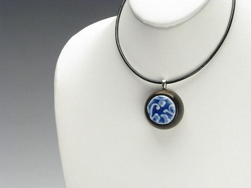 Cobalt Blue Stylized Plant Pendant Necklace;PCBSD1