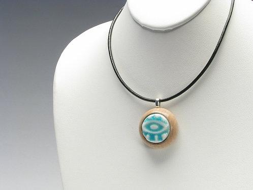 Turquoise Stylized Eye Pendant Necklace; TUSN1