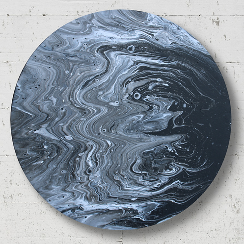 """14"""" Round Moon Original Acrylic Pour Painting - """"Moon Shadow"""""""