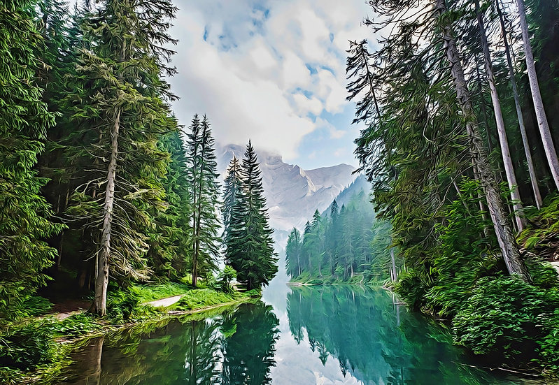 """Quiet Mountain Lake"" Fine Art Print - 12"" x 16"""