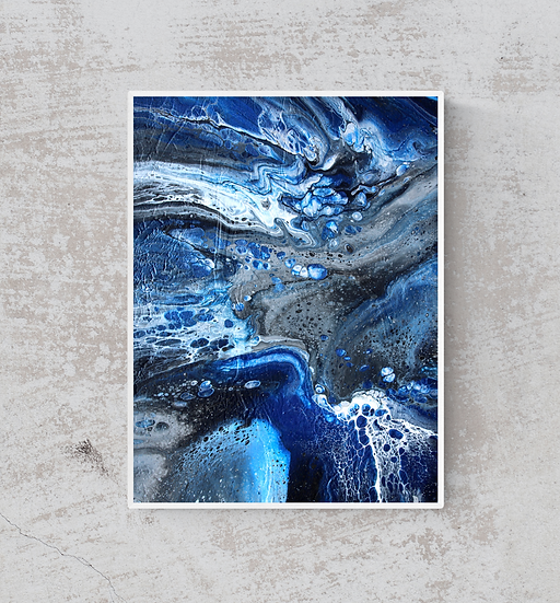 """12"""" x 16"""" Original Abstract Acrylic Pour Painting in Blue, Silver, and Black"""
