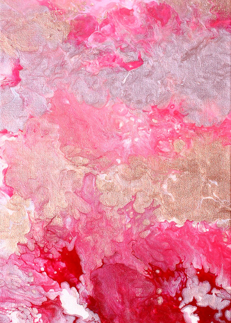"""ACEO/ATC 2.5"""" x 3.5"""" Abstract Fluid Acrylic Painting Print - Pink and Red"""