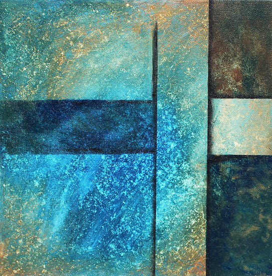 """12"""" x 12"""" Original Acrylic Abstract Painting in Blue, Green and Brown"""