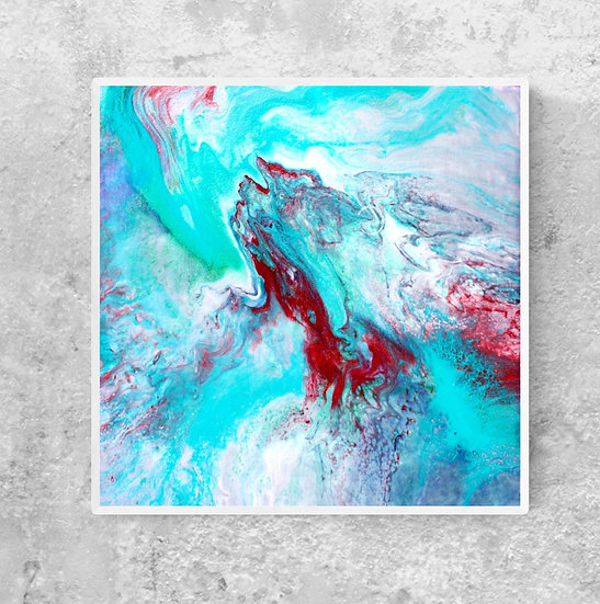 """12"""" x 12"""" Original Abstract Acrylic Pour Painting in Blue, Aqua, and Red"""