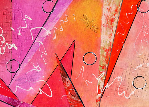 """ACEO/ATC 2.5"""" x 3.5"""" Abstract Acrylic Painting Print - Pink & Red"""