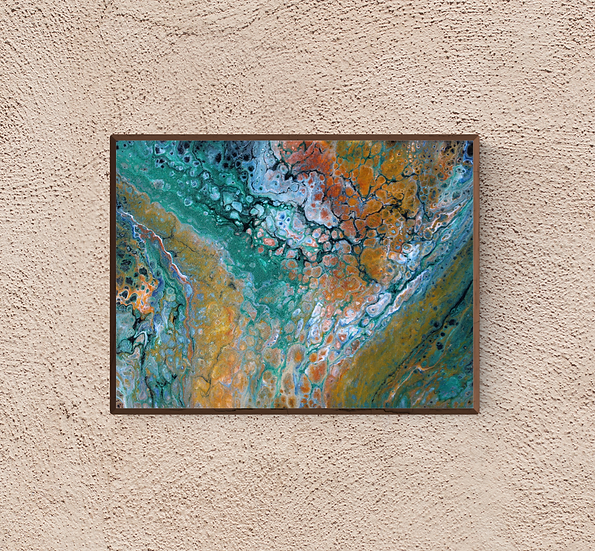 """12"""" x 16"""" Original Abstract Acrylic Pour Painting in Brown, Orange, and Green"""