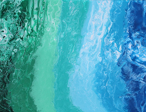 """14"""" x 18"""" Original Abstract Acrylic Pour Painting - """"Open Water"""""""