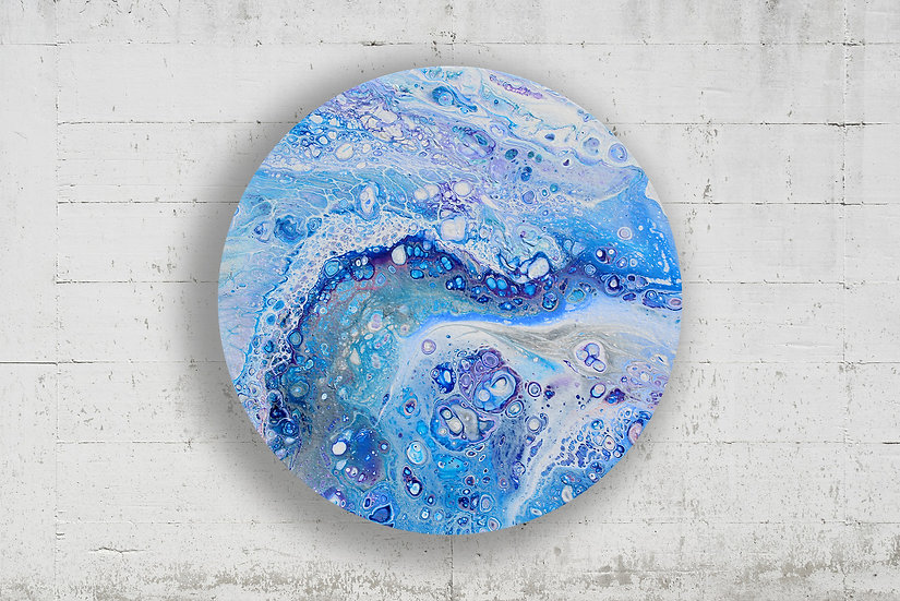 """14"""" Round Original Acrylic Pour Painting in Blue, Silver, and Purple"""