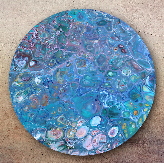 """14"""" Round Original Acrylic Pour Painting in Pastel Colors"""